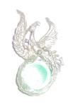 Phoenix Pendant, green glass ball