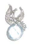 Phoenix Pendant, cyan glass ball