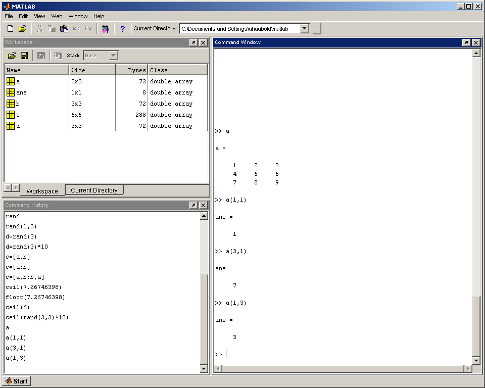 Matlab lecture 1 for Table 2 matrix matlab