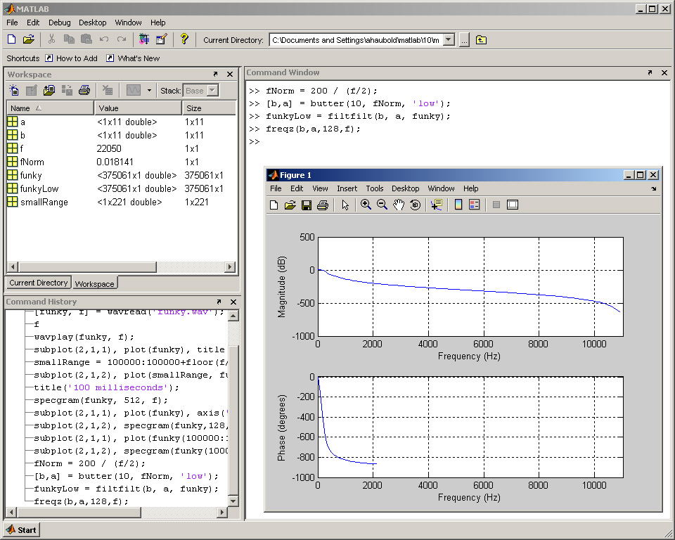 Low pass filter matlab
